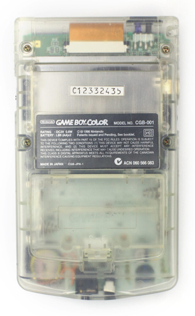 Nintendo Gameboy Color Clear back
